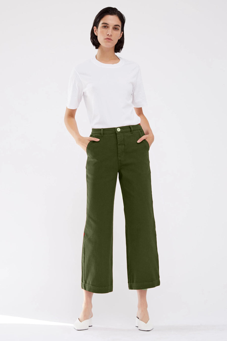 Bull Denim High Waisted Pant - Army Green