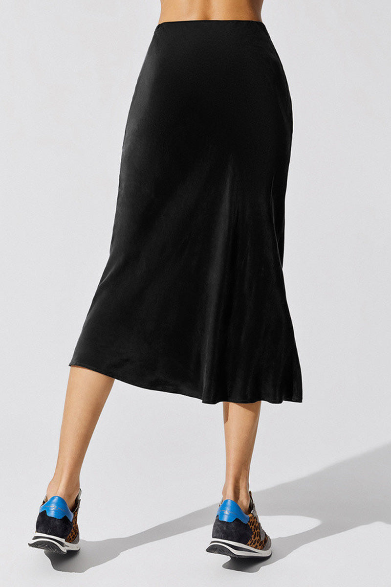 Cupro Bias Midi Skirt - Black