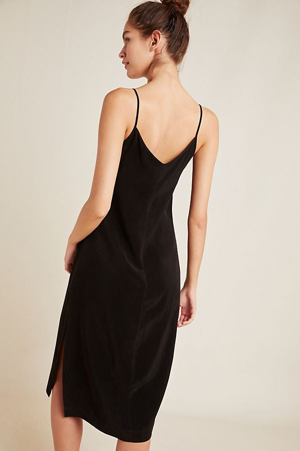 Cupro Slip Dress - Black - Pavilion
