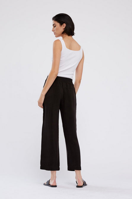 Cupro Wide Leg Pant - Black