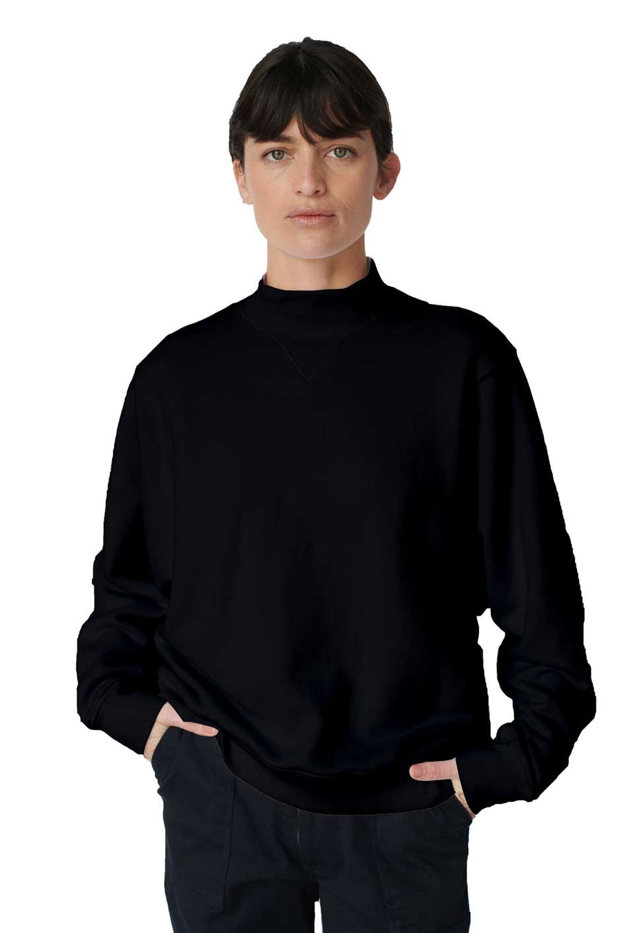 Heavy Fleece Mockneck - Black