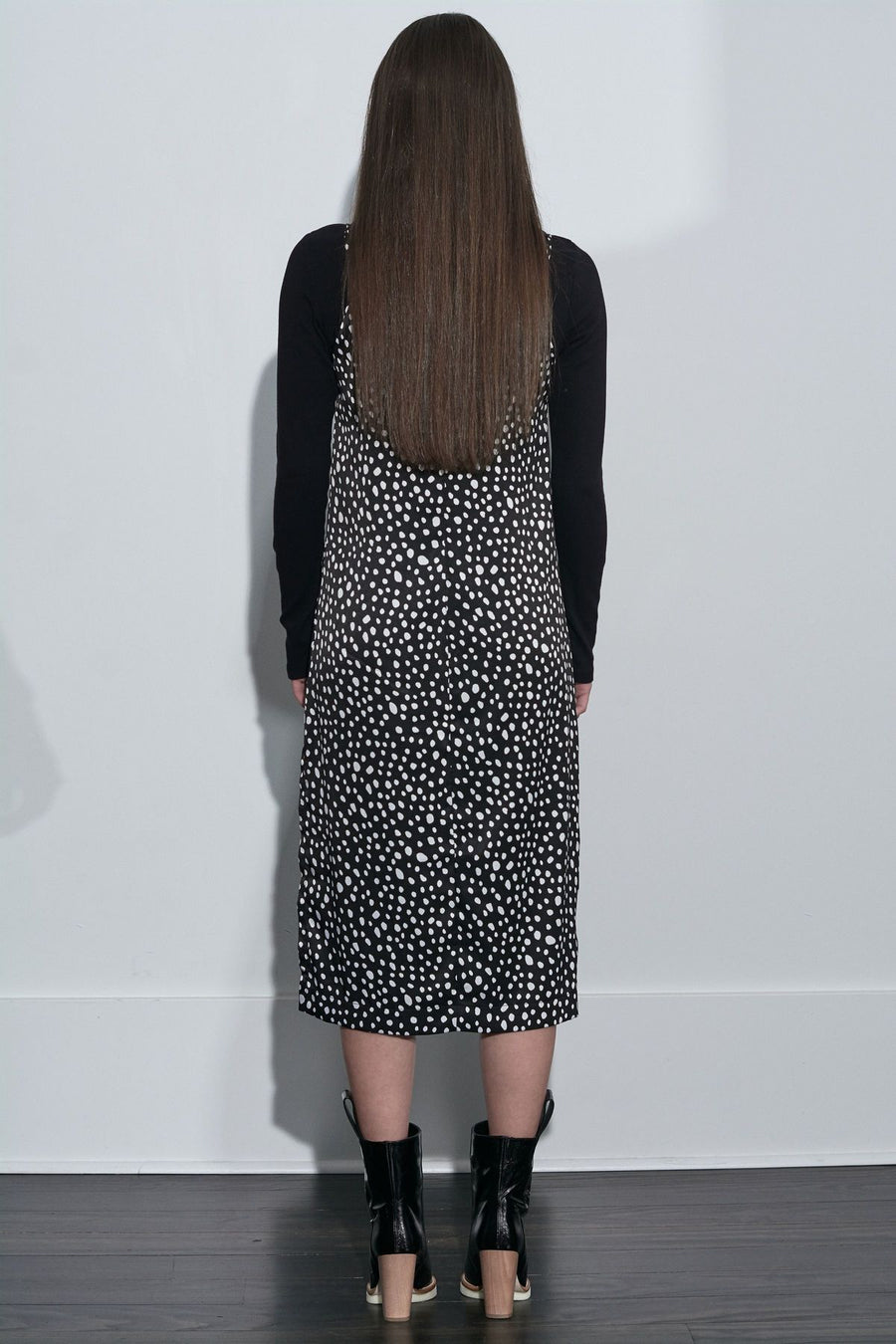Leopard Slip Dress - Black