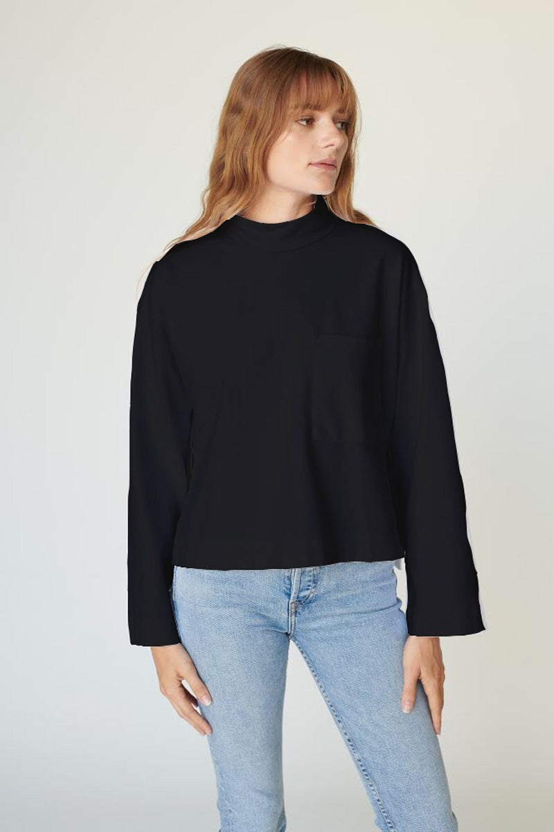 Ponte Side Slit Long Sleeve Top - Black - Pavilion