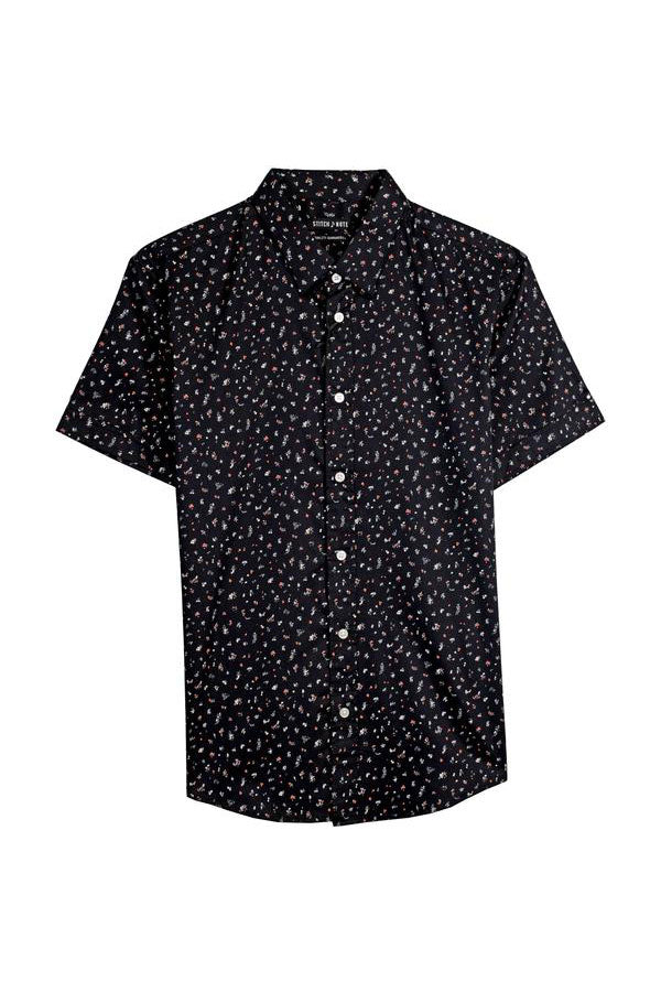 Small Floral Print Button Down - Black