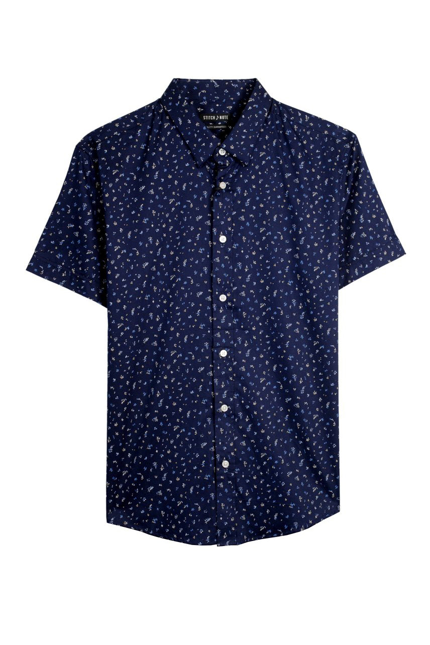 Small Floral Print Button Down - Navy