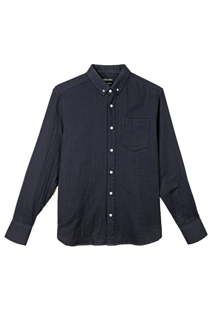 Solid Two Faced Gauze Long Sleeve Button Down - Navy
