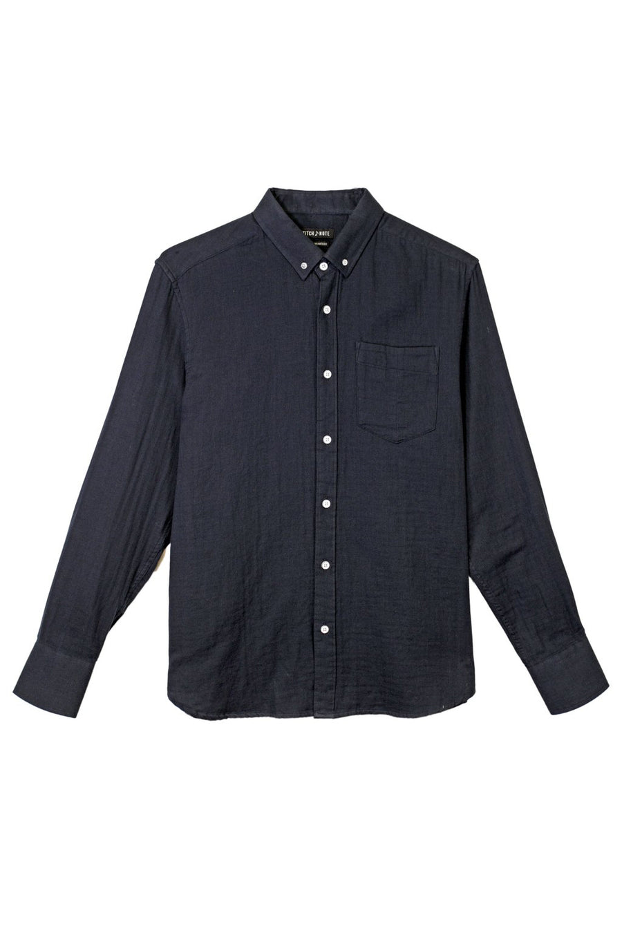 Solid Two Faced Gauze Long Sleeve Button Down - Navy - Pavilion
