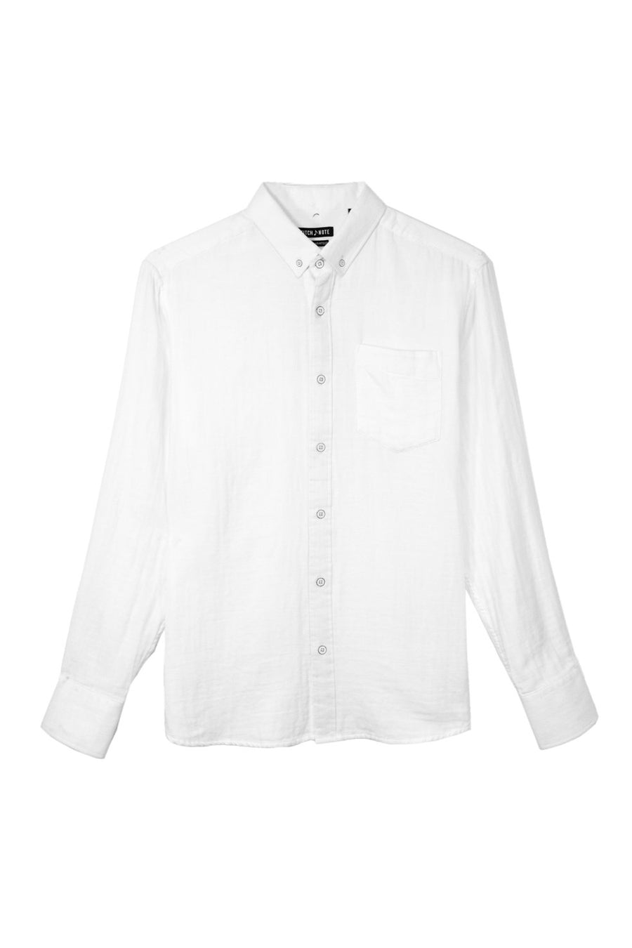 Solid Two Faced Gauze Long Sleeve Button Down - White