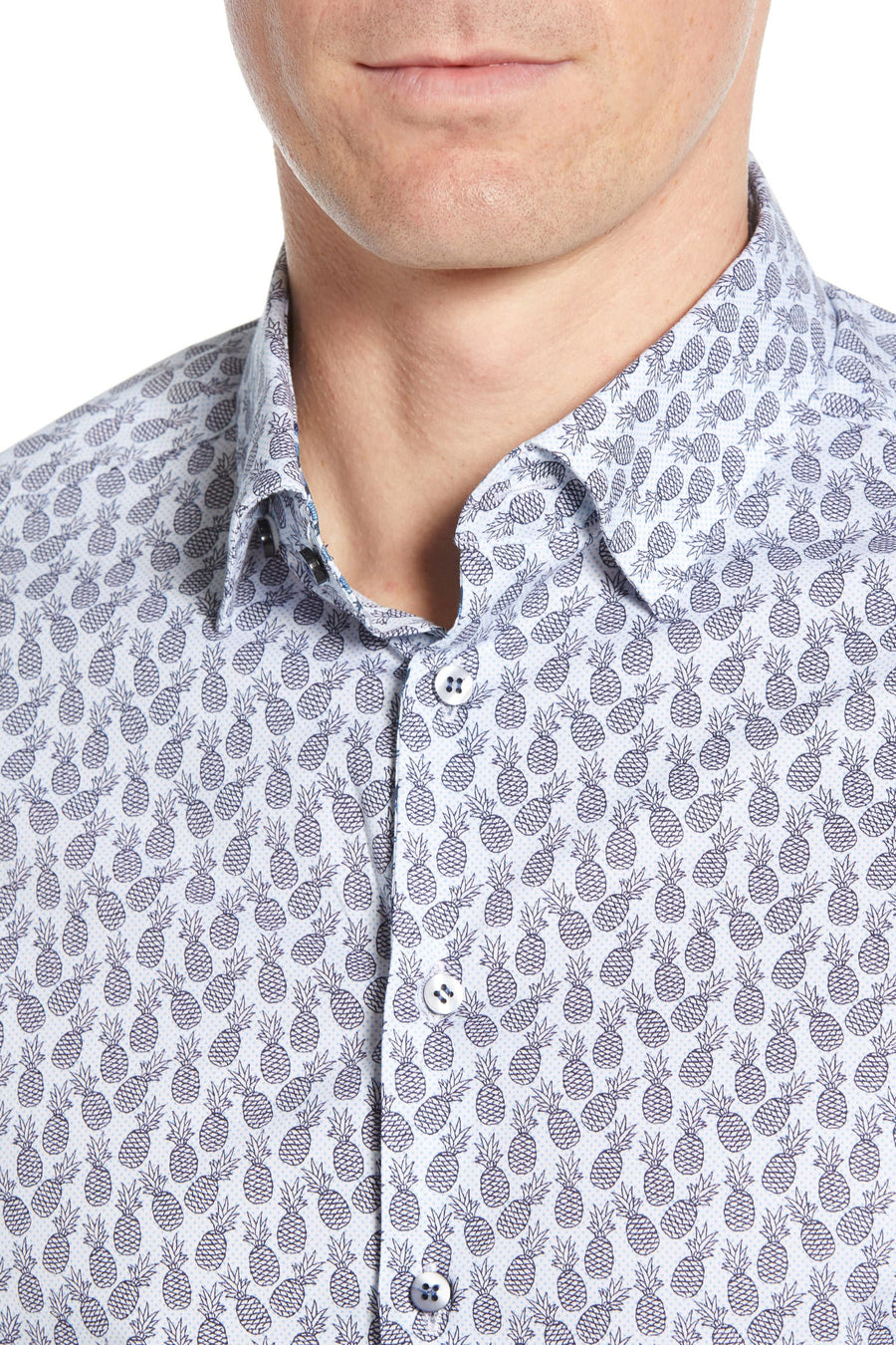 Short Sleeve Woven Button Down - Pineapple Print