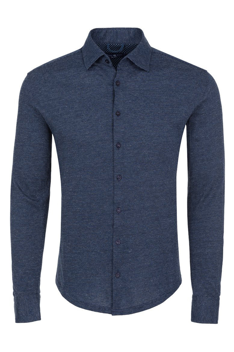 Jacquard Knit Florence Button Down - Navy