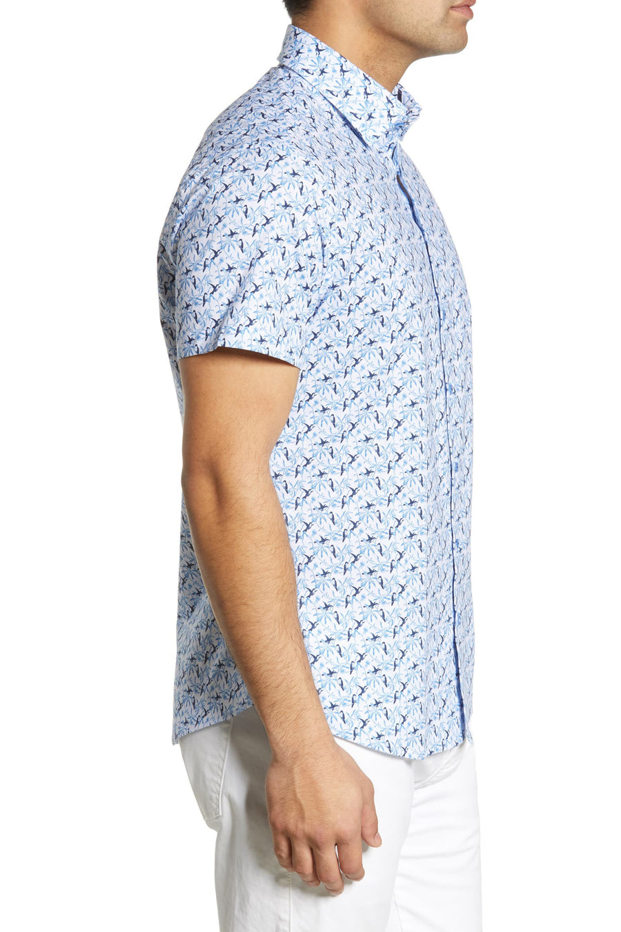 Short Sleeve Woven Button Down - Bird Print - Pavilion