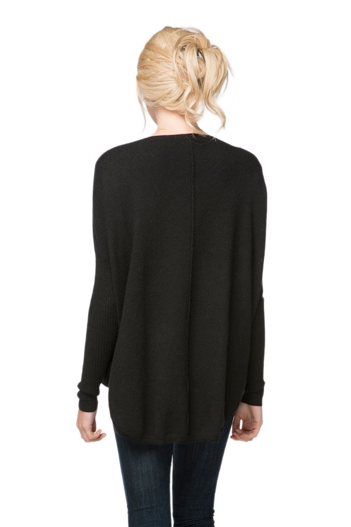 Nelly Cashmere V Neck Pullover - Black