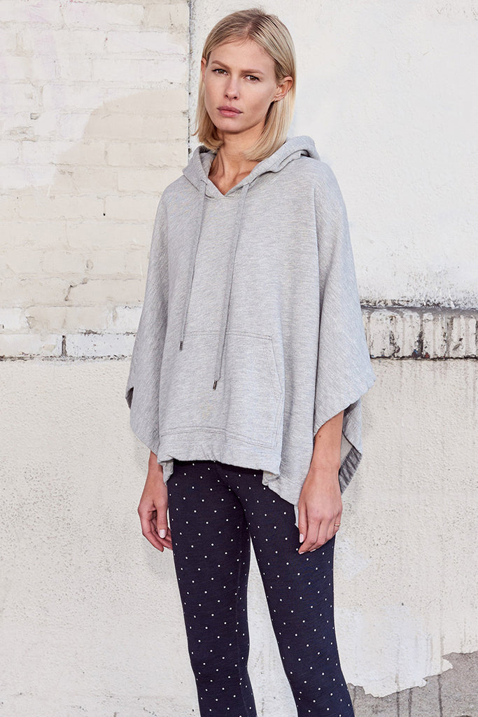 Hooded Poncho - Heather Grey