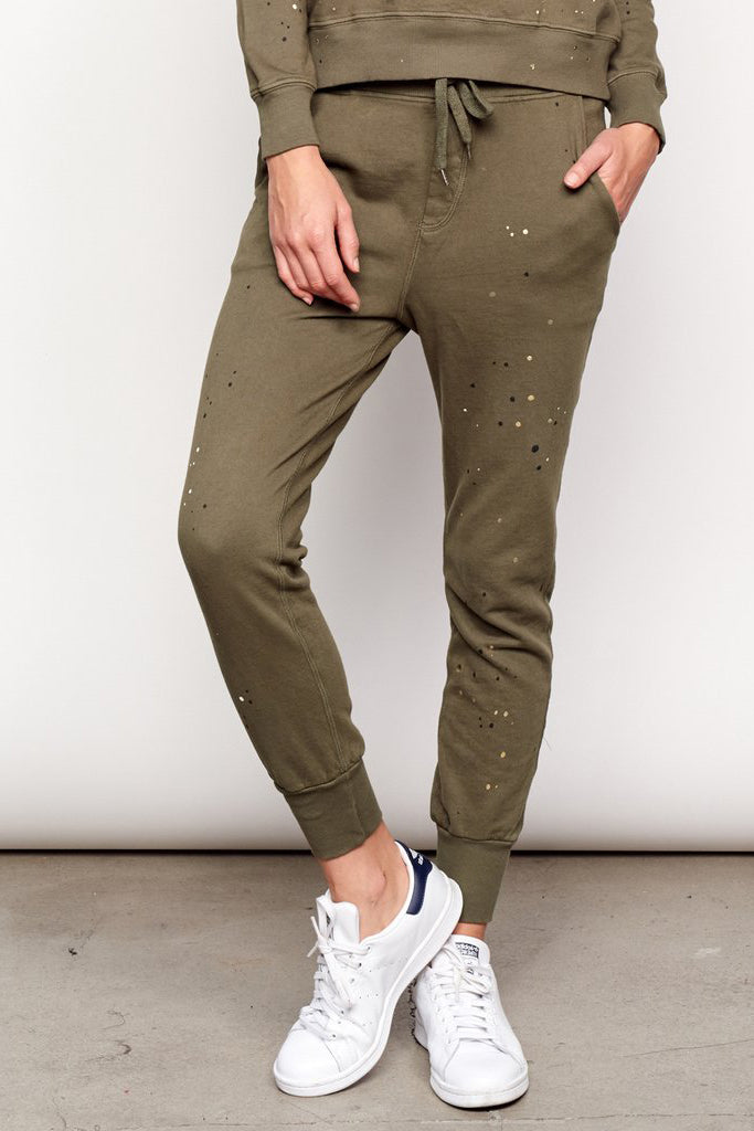 Paint Splatter Tapered Sweatpant - Pine