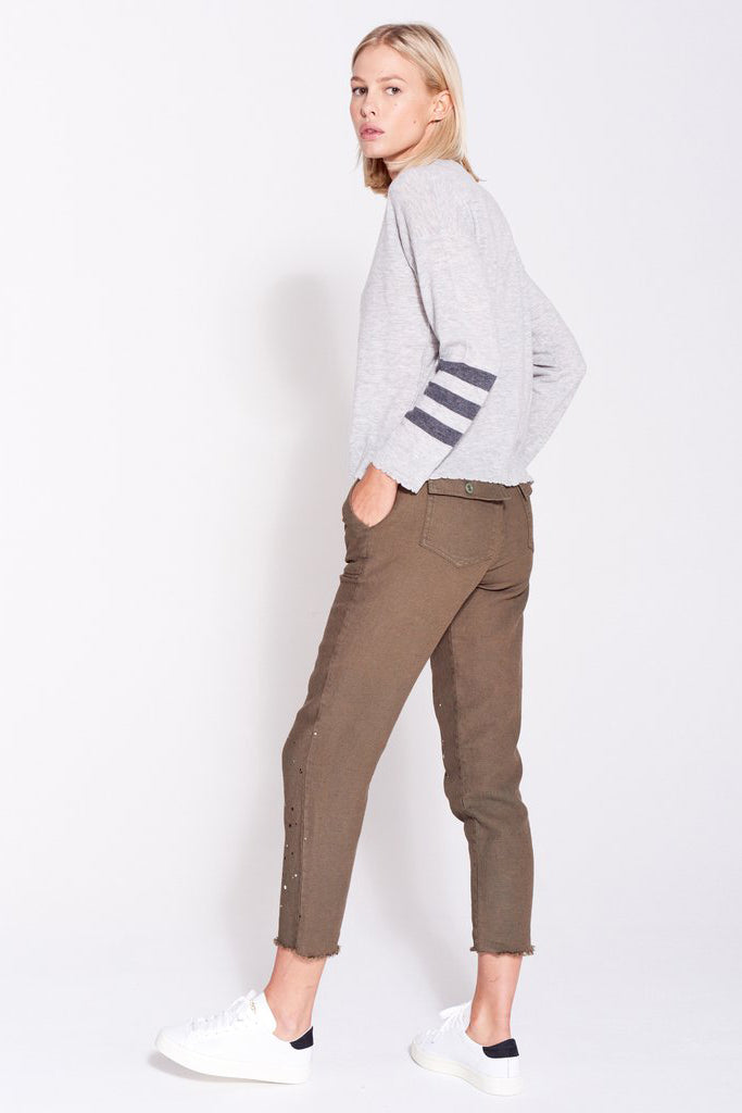 Stripes Crew Neck Sweater - Heather Grey