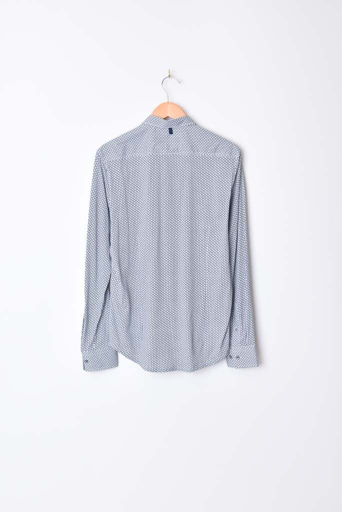 Interlaced Print Reworked Shirt - White/Grey