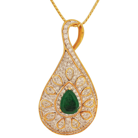 Tavisi Diamond Emerald Gold Pendant - M Walters Jewellery