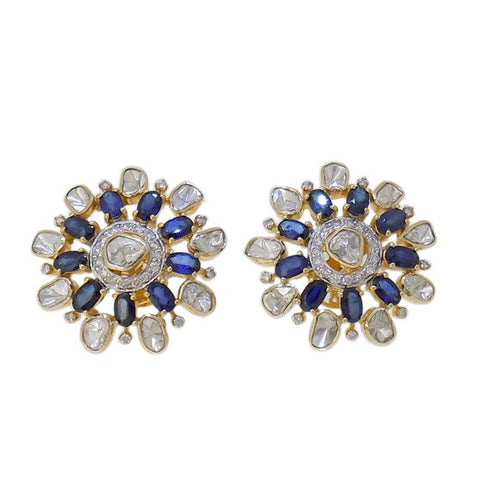 Beautiful Diamond Polki Blue Sapphire Fusion Smart Eartops - M Walters Jewellery