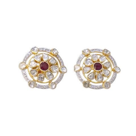Delicate Diamond Polki Ruby Fusion Smart Eartops - M Walters Jewellery