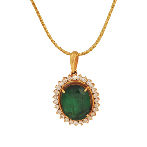 Purva Diamond Emerald Gold Pendant - M Walters Jewellery