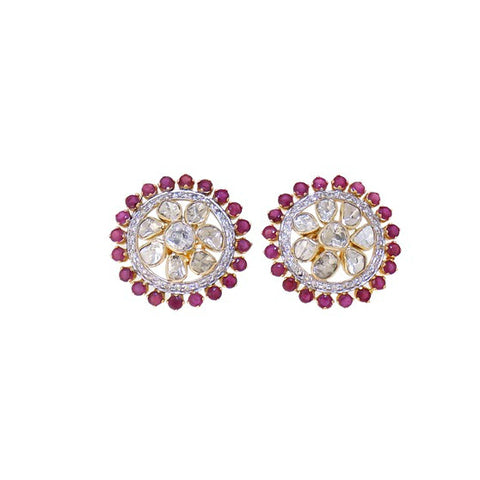 Classy Diamond Polki Ruby Fusion Smart Eartops - M Walters Jewellery