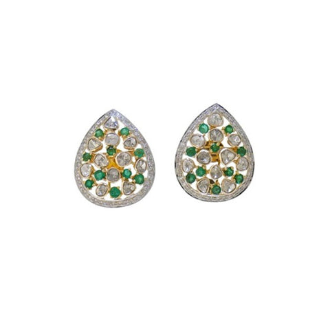 Smart Casual Diamond Polki Emerald Fusion Eartops - M Walters Jewellery
