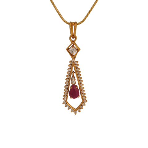 Maya Diamond Ruby Gold Pendant - M Walters Jewellery