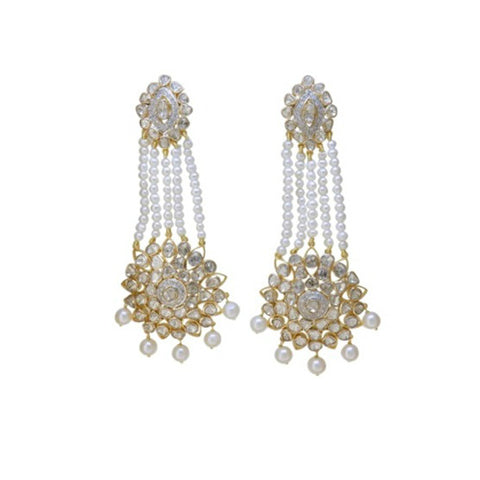 Formal Diamond Polki Pearls Fusion Earrings - M Walters Jewellery