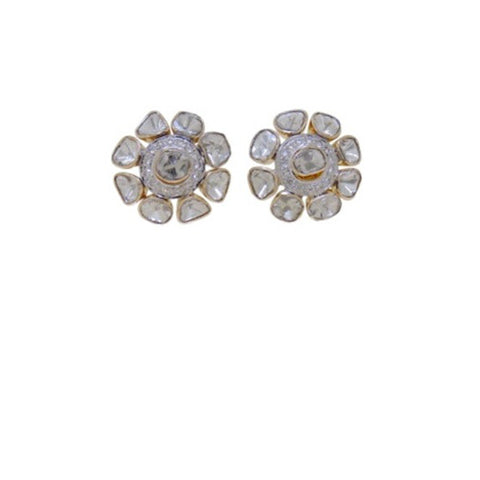 Designer Smart Casual Diamond Polki Fusion Eartops - M Walters Jewellery