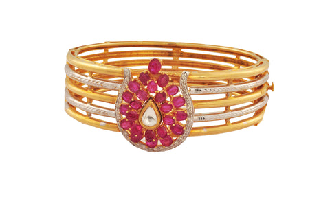 Mugdha Diamond Ruby Gold Bracelet - M Walters Jewellery