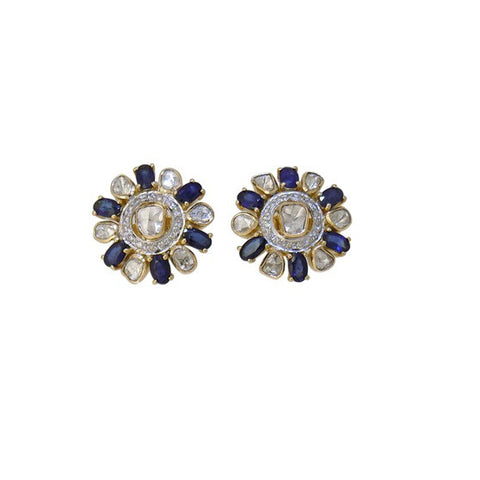 Charming Diamond Polki Blue Sapphire Fusion Eartops - M Walters Jewellery