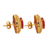 Aruna Diamond Ruby Stud Earrings - M Walters Jewellery