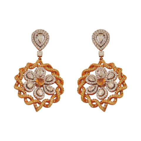 Atyay Diamond Citrine Drop Earrings - M Walters Jewellery
