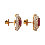 Subhavya Diamond Ruby Stud Earrings - M Walters Jewellery