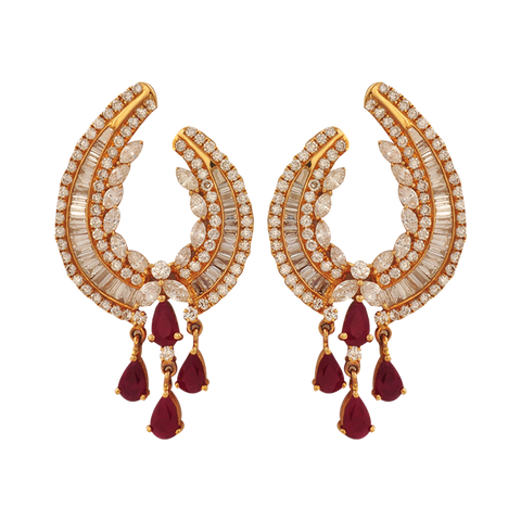 Surabhi Diamond Ruby Drop Earrings - M Walters Jewellery