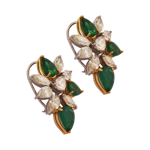 Pallavi Diamond Emerald Stud Earrings - M Walters Jewellery