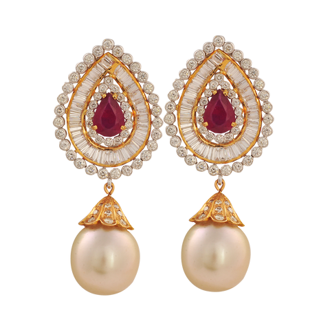Diva Diamond Ruby Pearl Drop Earrings - M Walters Jewellery