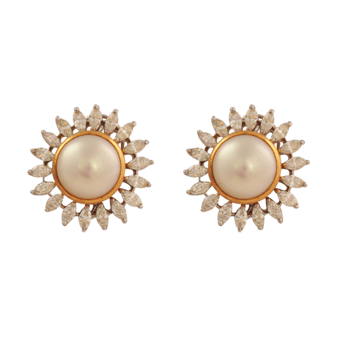 Karnika Diamond Pearl Stud Earrings - M Walters Jewellery