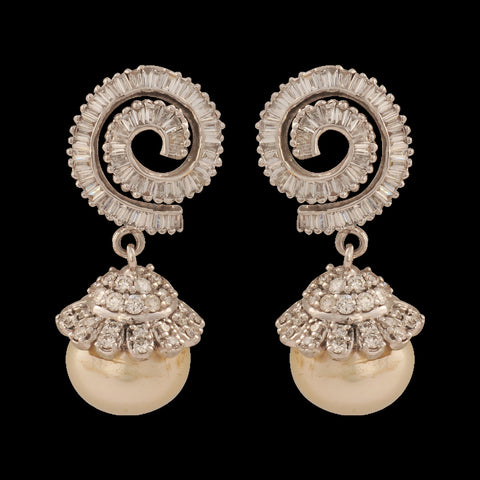 Karnika Designer Diamond Pearl Drop Earrings - M Walters Jewellery