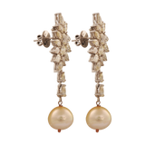 Karnika Partywear Diamond Pearl Hand Crafted Drop Earrings - M Walters Jewellery