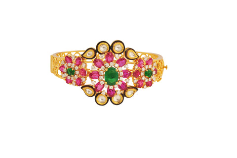 Mohin Polki Diamond Red Green Stones Gold Bracelet - M Walters Jewellery