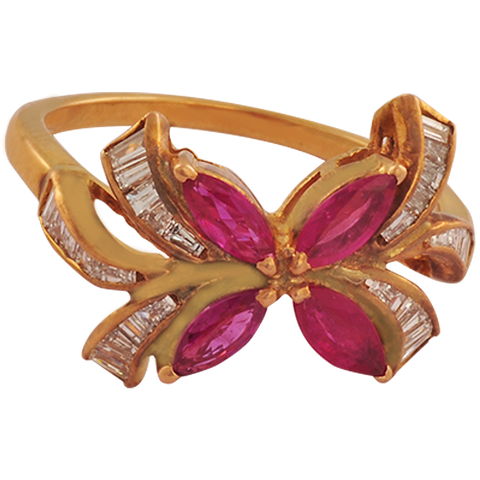 Sampriti Diamond Ruby Gold Rings - M Walters Jewellery