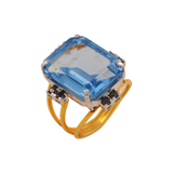 Rajavi Black Diamond Blue Topaz Gold Rings - M Walters Jewellery