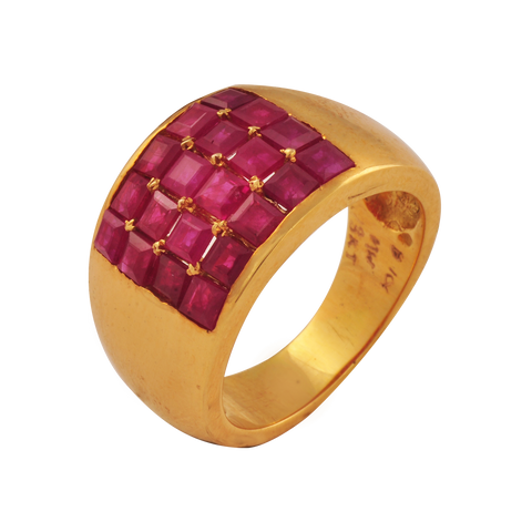 Aruna Ruby Gold Rings - M Walters Jewellery