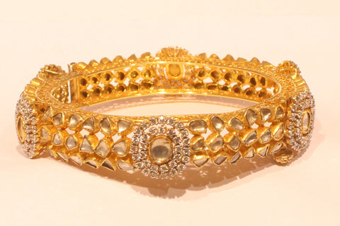Shri Traditional Diamond Polki Broad Gold Bangle - M Walters Jewellery