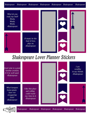 Planner Stickers -Shakespeare Love