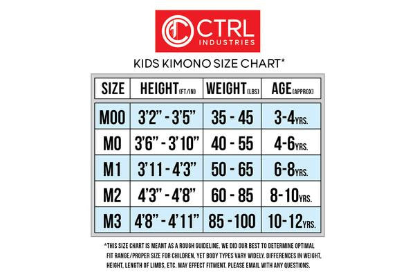 Size Chart for Kids Kimonos