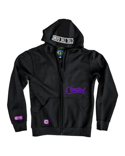 FLUID ZIP HOODIE - BLACK/PURPLE