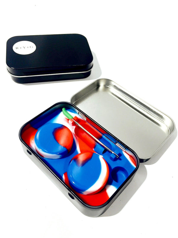 Tin Case Silicone Container w/ Dab Tool