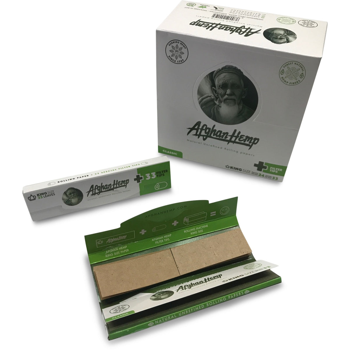 Afghan Hemp Rolling Papers - King Size + Tips